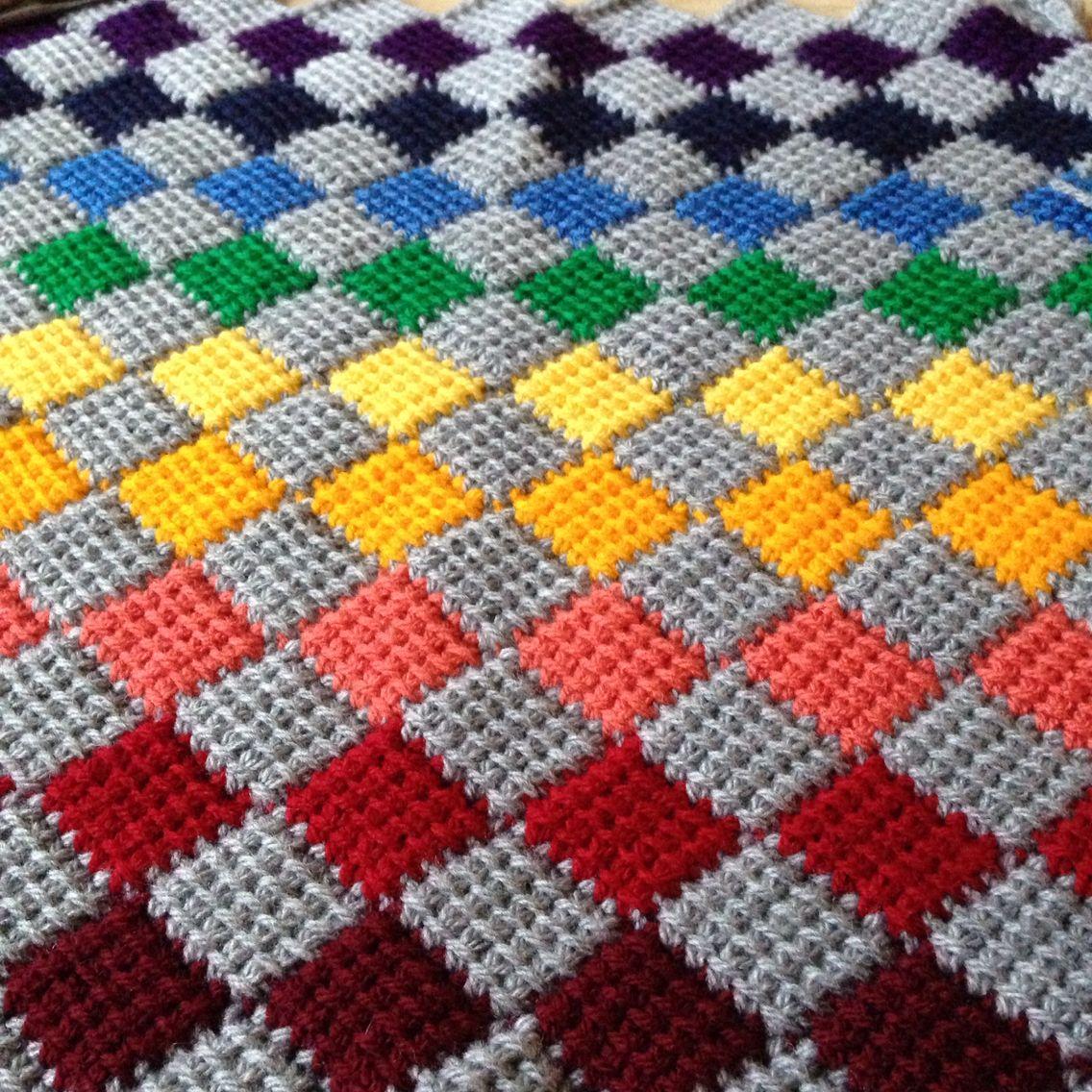 Tunisian entrelac crochet rainbow cushion cover | Crochet - Blankets ...
