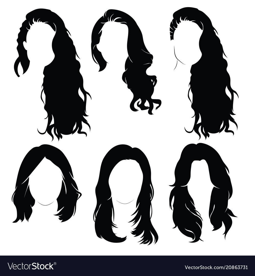 Set Of Hairstyles For Women Collection Of Black Vector Image On
