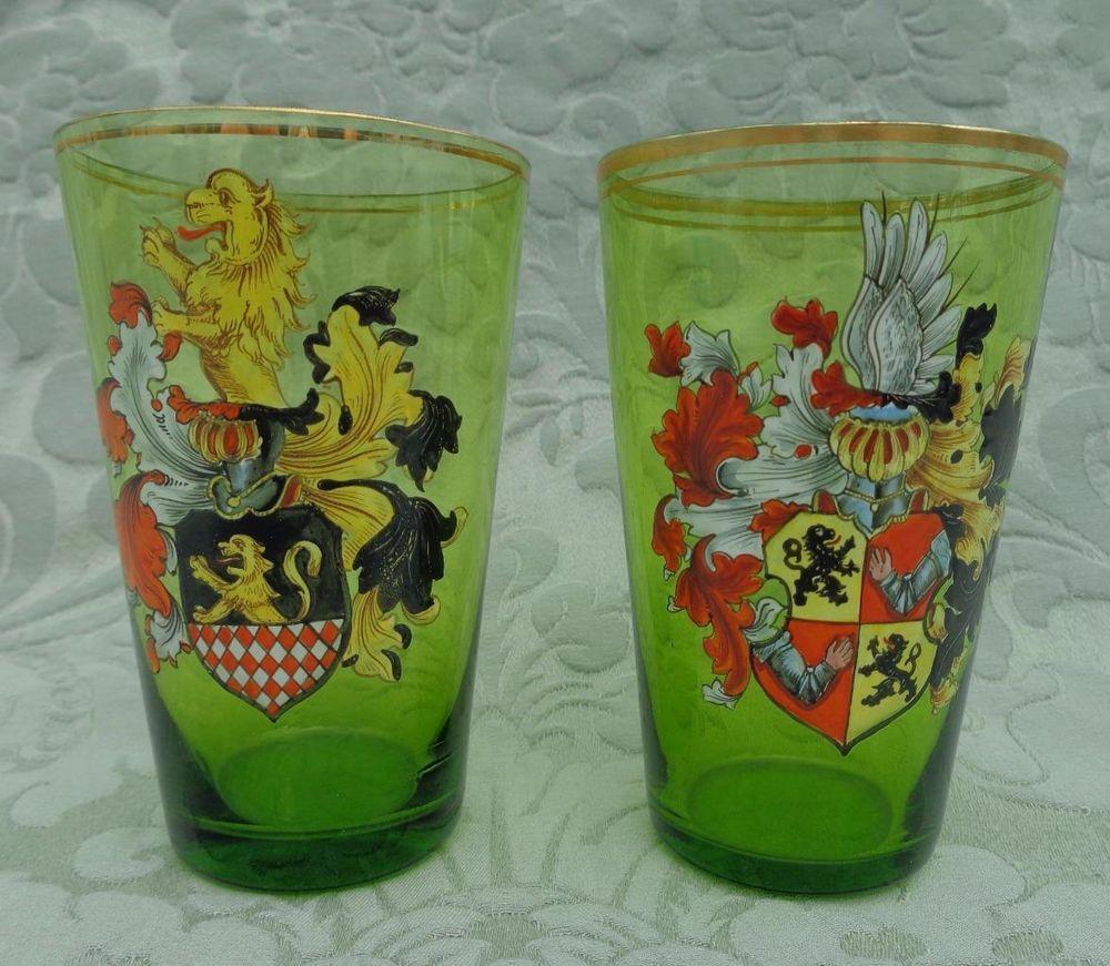 Pair Antique Victorian Green Glass Beakers Enamelled Crests Bohemian Historismus