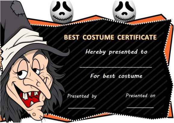 Halloween Costume Contest Certificate Template | Halloween Costume ...