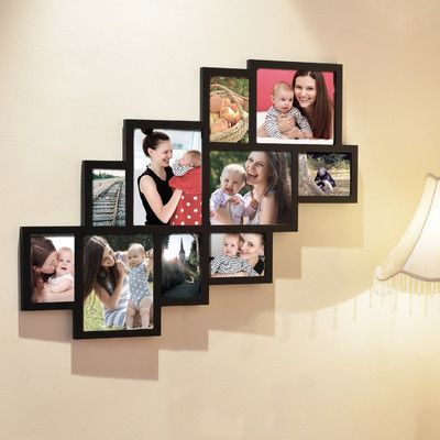Homebeez 10 Slot Wood Collage Picture Frame Wood Wall Hanging Picture Collage Wall Collage Picture Frames