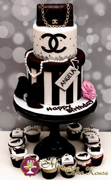 Chanel Birthday Cake but instead of the name angela ill