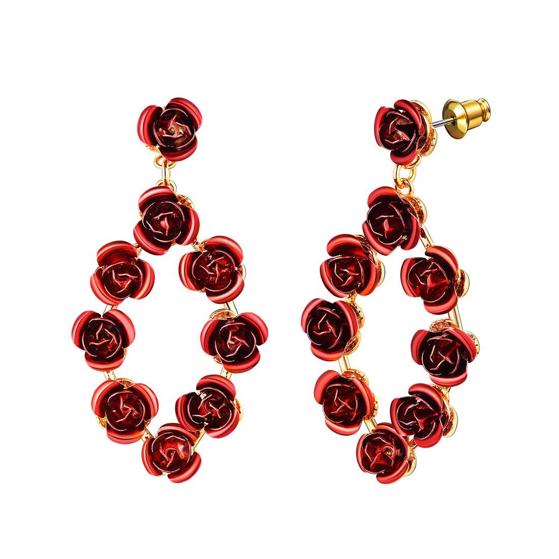 U7 Cute Red Rose Flower Drop Earrings Women Girls Valentines Jewelry 18k Gold Plated Metal Fashion With Images Necklace For Girlfriend Wedding Bracelet Bridesmaid Bracelet