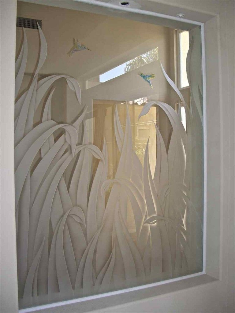 Bathroom luxury with interior glass doors sans soucie - Etched Glass Interior Window Featuring 3d Carved Reeds With Carved Painted Hummingbirds In The