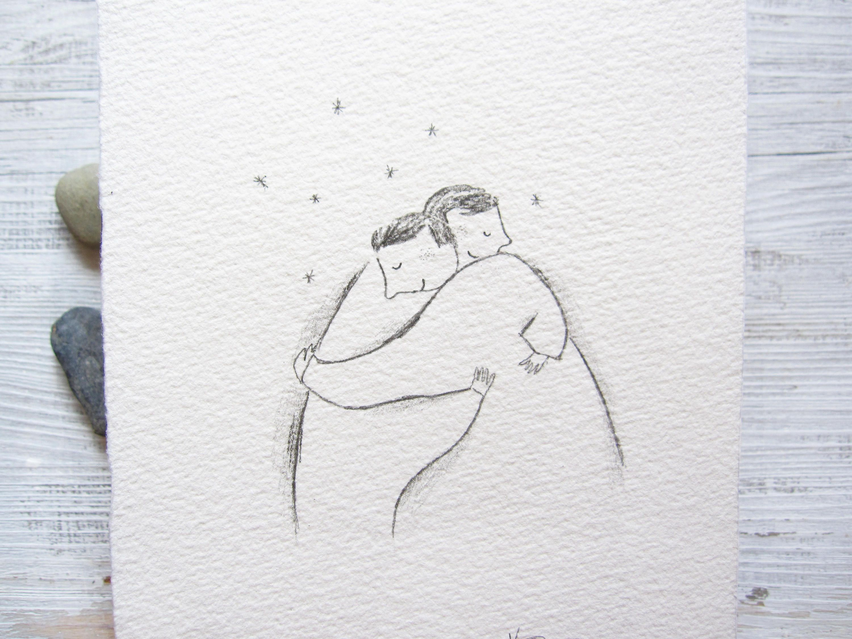 Line Art Couple : Big hug drawing postcard art love pencil minimalist