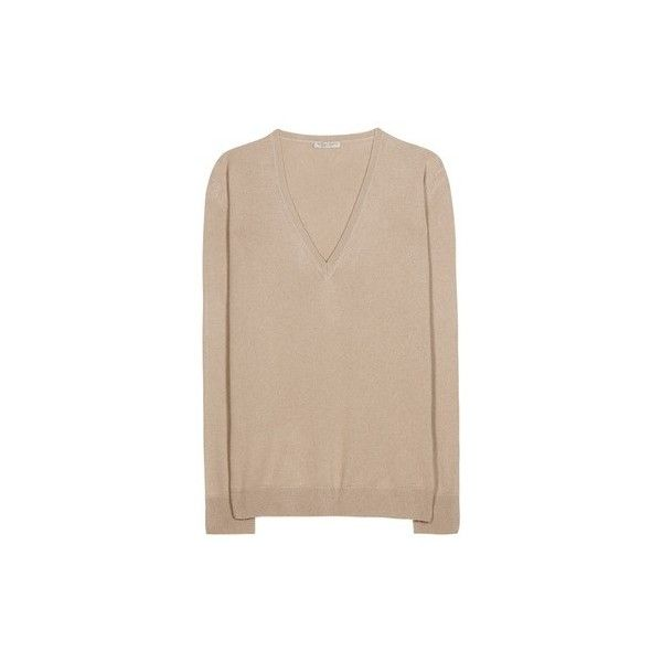 Bottega Veneta Cashmere Sweater ($825) ❤ liked on Polyvore featuring tops, sweaters, beige sweater, bottega veneta sweater, bottega veneta, cashmere sweater e beige top