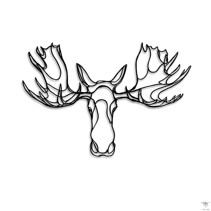 Design sign moose head trophy drawing animal wall art for How to draw a moos