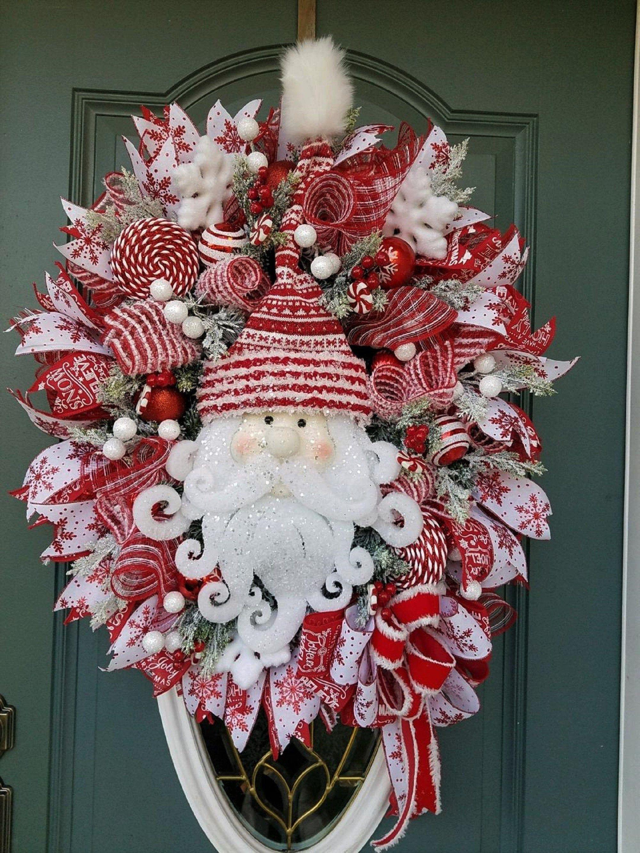 Photo of XL Christmas Wreath for Front Door / Santa Wreath/ Traditional Christmas Wreath / Peppermint Christmas Wreath / Red White Christmas Wreath
