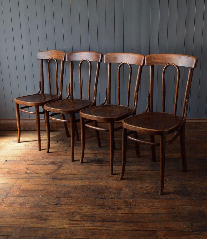 Vintage Mid Century Bistro Cafe Kitchen Chairs Bentwood Fischel  # Muebles Fischel