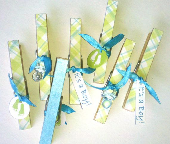 Awesome Itu0027s A Boy Blue And Green Plaid Clothes Pins For Babyu0027s By Bnzamo, ...