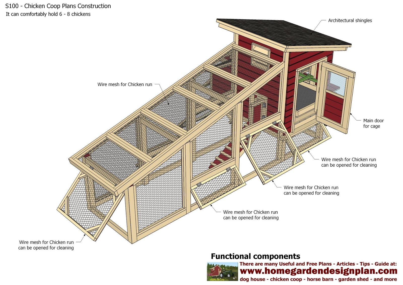 Home garden plans s100 chicken coop plans construction for Free chicken coop designs plans