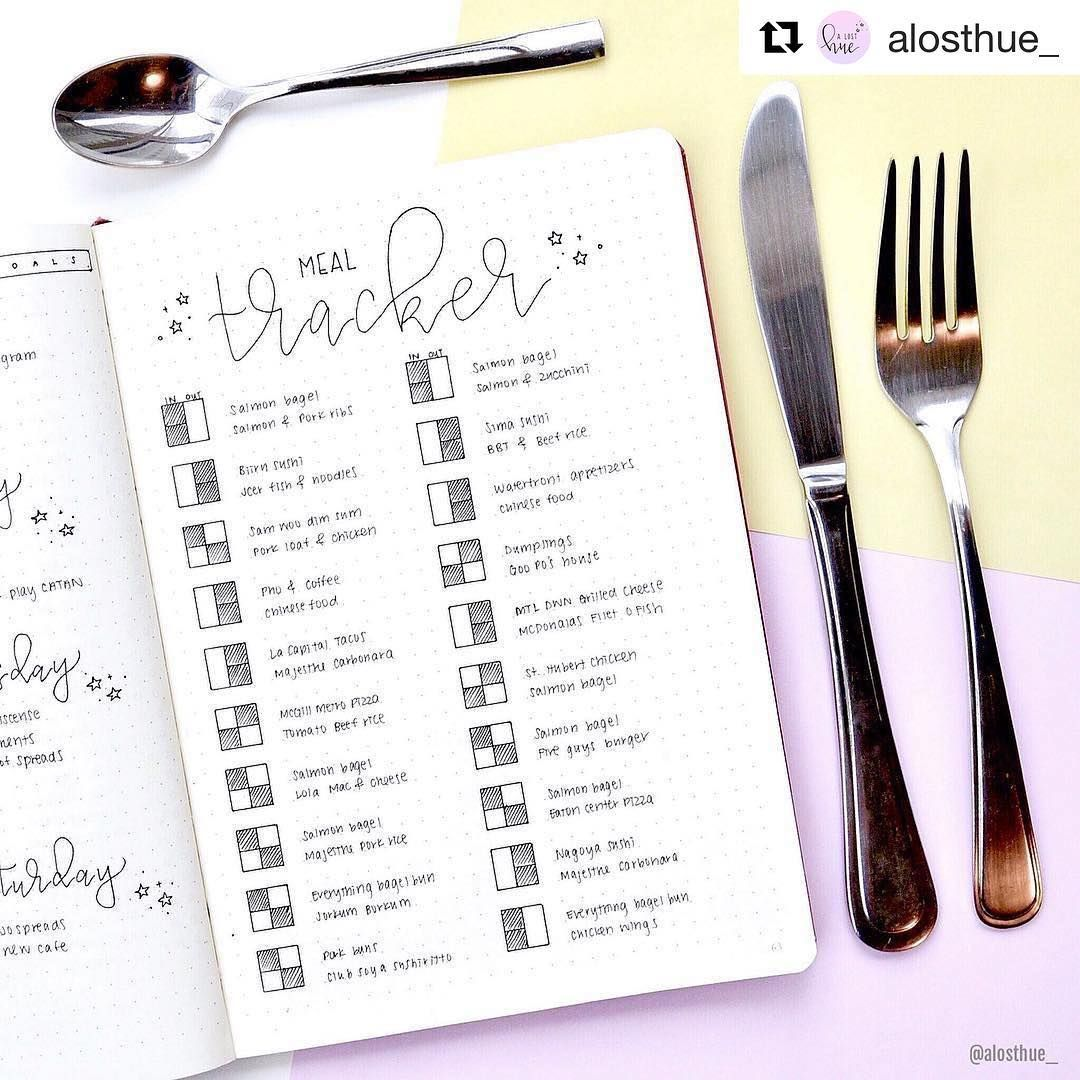"2,711 Synes godt om, 9 kommentarer – Ryder Carroll (@bulletjournal) på Instagram: ""#Repost @alosthue_ (@get_repost) ・・・ My meal tracker! 🍟🌮 I'm tracking how often I eat out vs in for…"""