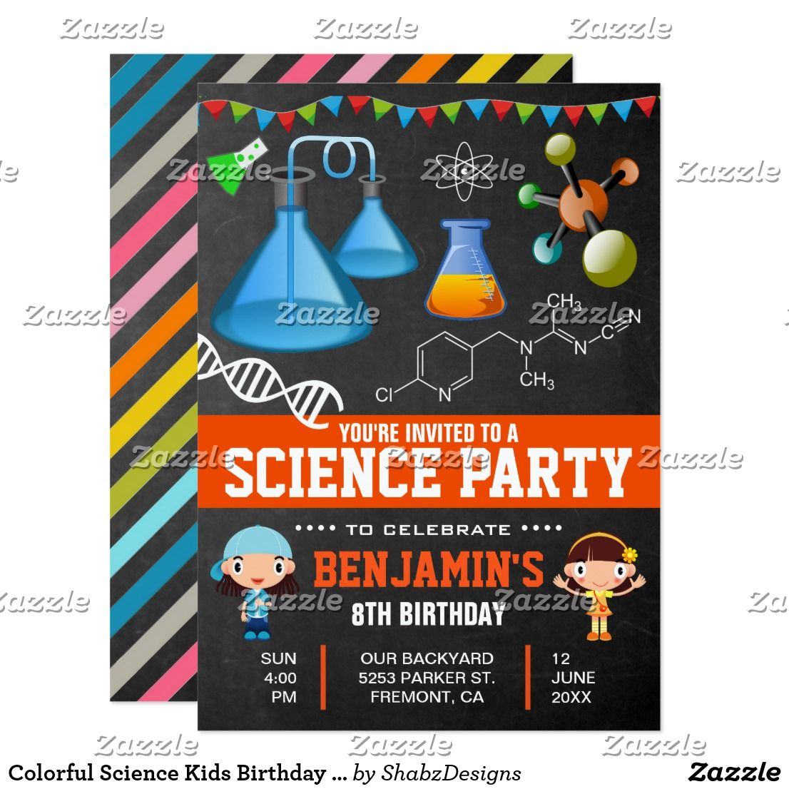 Colorful Science Kids Birthday Party Invitation Amaze your guests ...