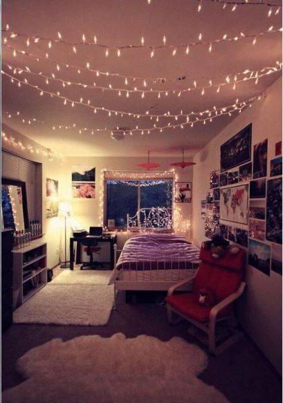 Lights Across The Ceiling Are Great Ways To Decorate Your Dorm Room!