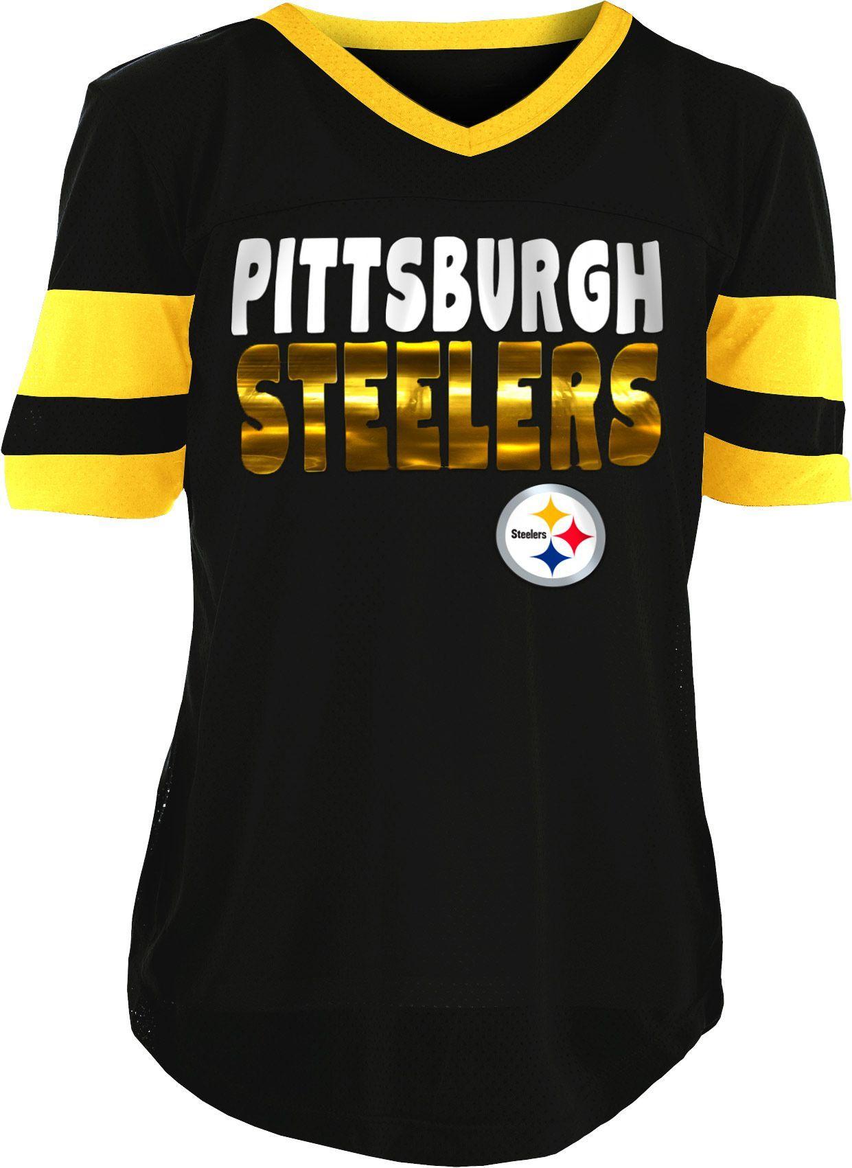 d6ee8da344edf NFL Team Apparel Girls' Pittsburgh Steelers Mesh Black Jersey Top ...