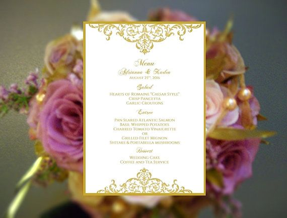 Beautiful Wedding MENU Template Karilee Vintage Design Gold - ms word menu template