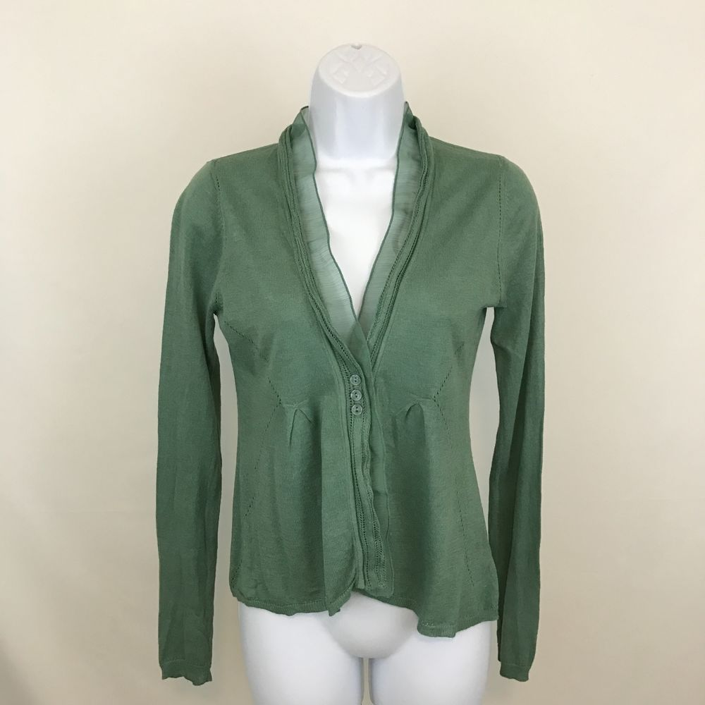 Angel Of The North Womens Cardigan Sweater Size S Green ...