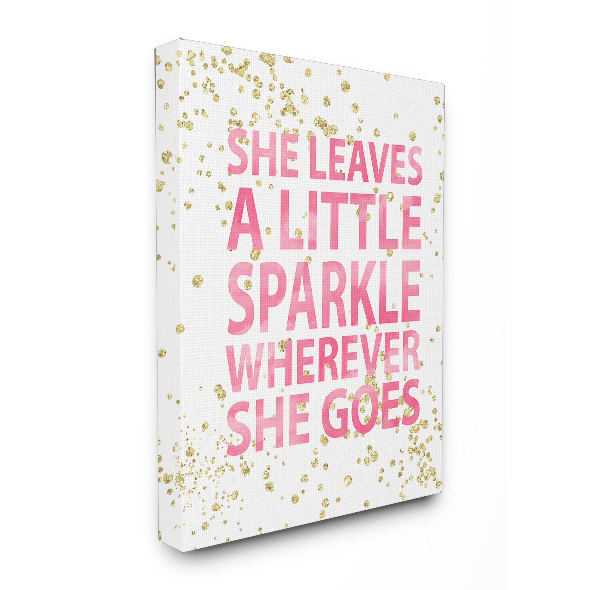 Stupell she leaves a little sparkle stretched canvas wall art 16 x