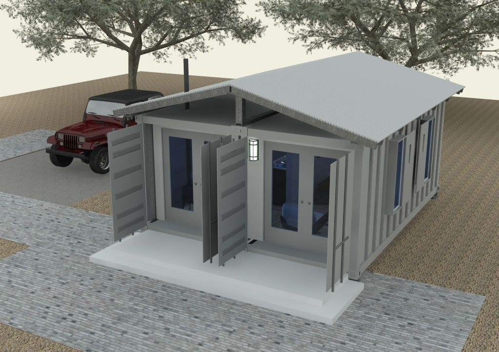 Shipping container houses shipping container cabin for Two storage house designs