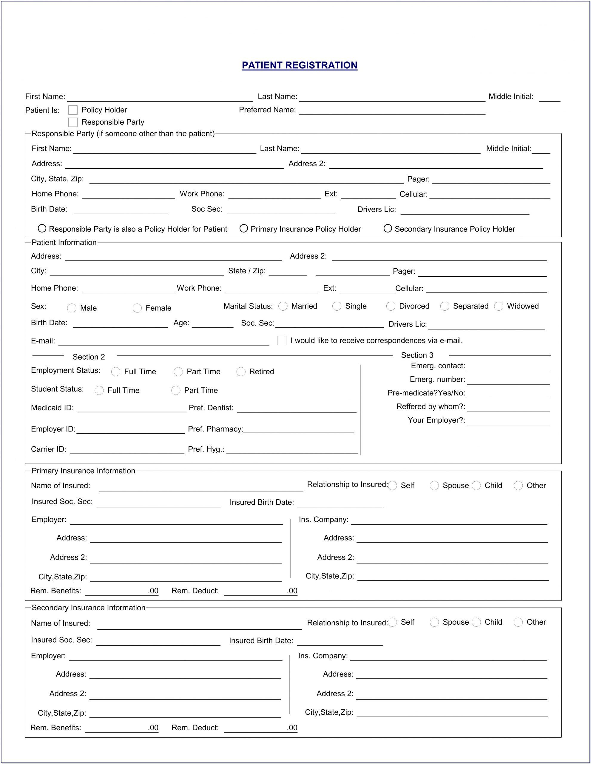 New Patient Registration Medical History Forms Medical History