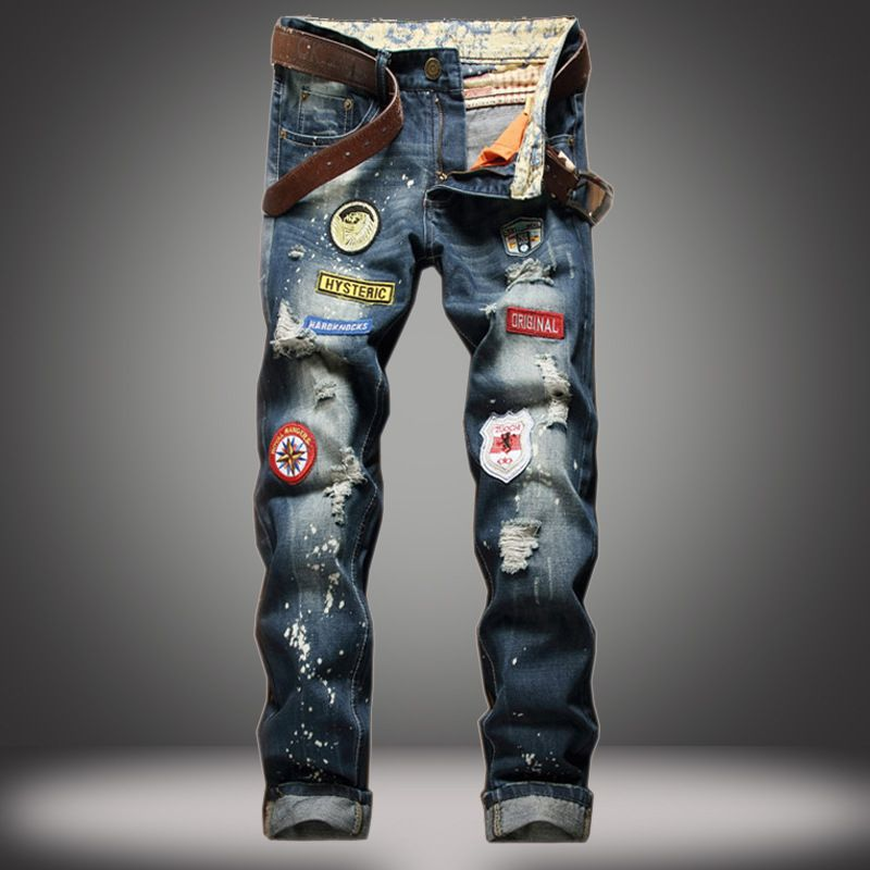 1e54bab4 Ripped Jeans Hot Sale Mens Rock Europe And America Hip Hop Jeans  #mensstraightjeans #mensstitchingstyleholepatchjeans #mensjeansoutfit  #wholesalemensjeans # ...