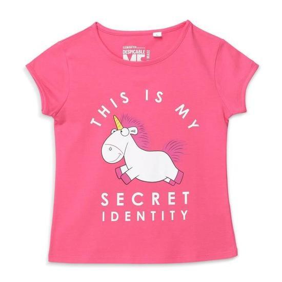 LES MINIONS T-shirt Licorne Rose et Blanc Enfant Fille