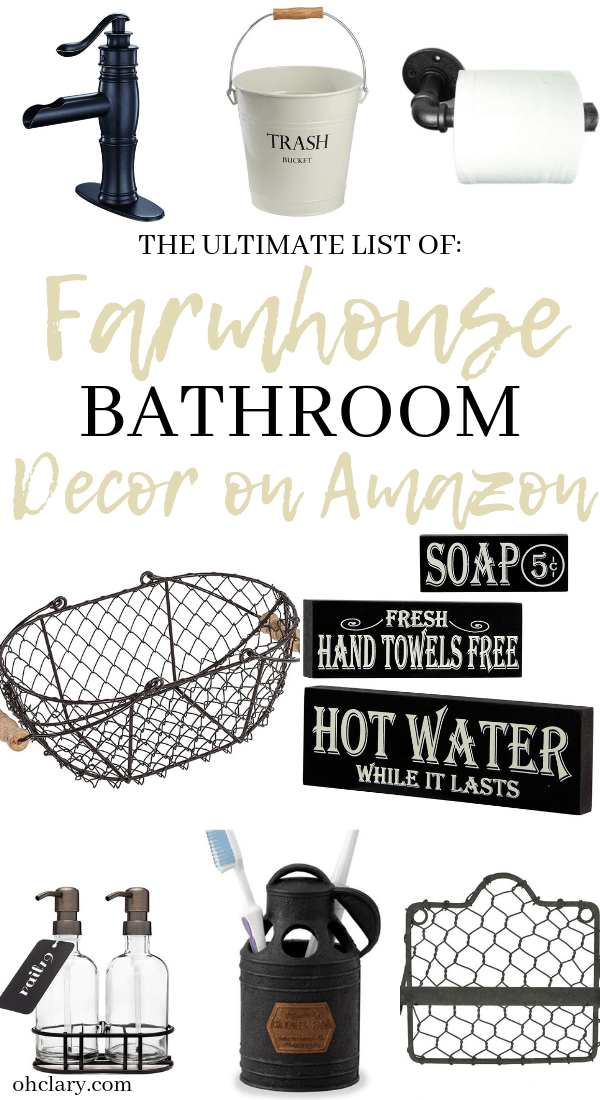 The Ultimate List of Rustic Farmhouse Bathroom Decor on Amazon. Best ideas for farmhouse bathroom accessories lighting mirror vanity and storage on a small budget. Perfect for any fixer upper or shabby chic style bathroom! #farmhouse #farmhousestyle #farmhousedecor #farmhousebathroom #farmhousebathroomdecor ...board has a granite top and utility drawers.The reclaimed oak wood floor carries on from the bedroom into the bathroom.The hallway has a large hanging...h farmhouse design in this charming