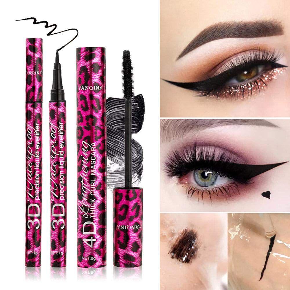 Leopard Makeup Set Black Mascara Eyeliner Pen Big Eyes