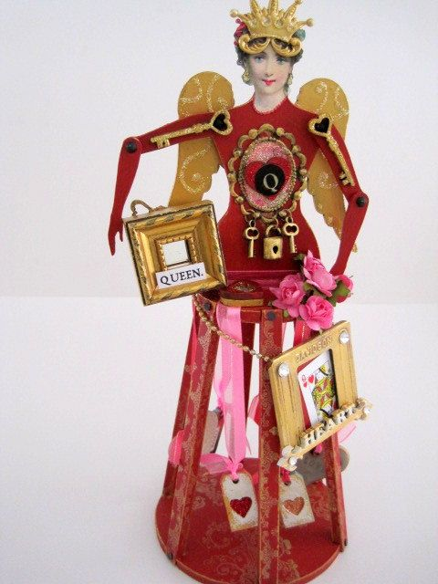 Mixed Media Santos Cage Doll Shrine QUEEN OF HEARTS by IMGirl, $125.00
