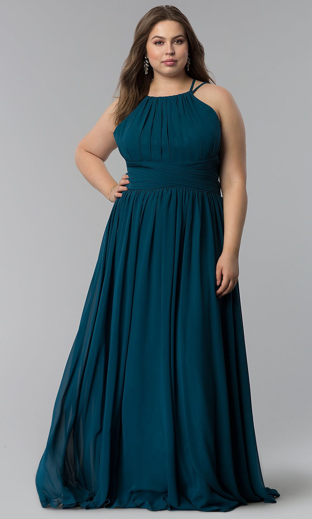 High-Neck Long Plus-Size Prom Dress - PromGirl