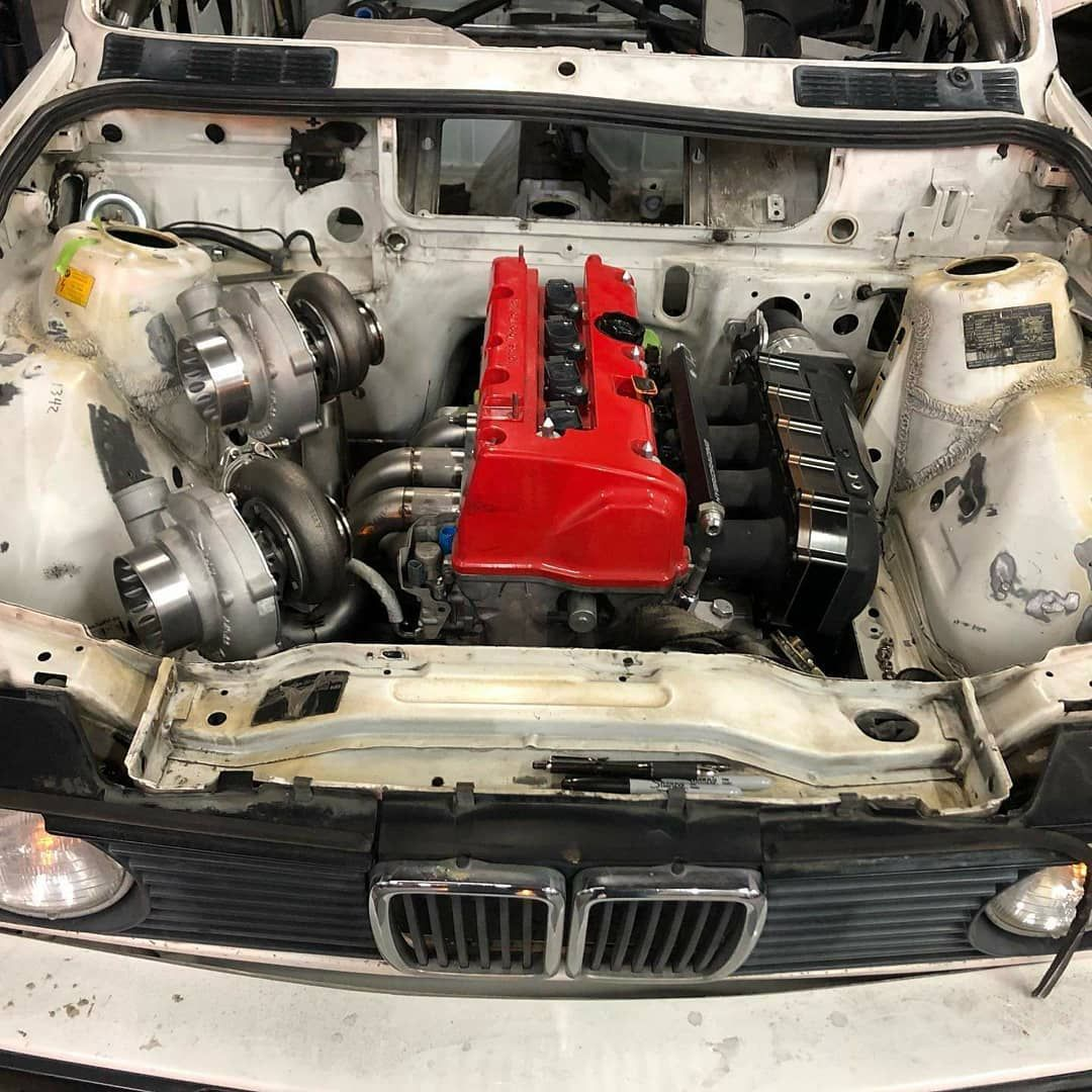 BMW E30 with a twin turbocharged Honda K20  Why? Because