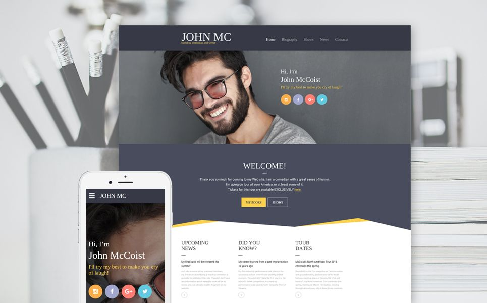 Stand Up Comedian Writer Responsive Website Template With Carousel