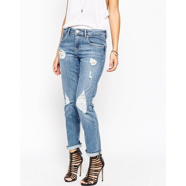 ASOS Kimmi Shrunken Boyfriend Jeans In Elsa Midwash Blue With Rips (235 BRL) ❤ liked on Polyvore featuring jeans, mid stone wash, relaxed boyfriend jeans, destructed boyfriend jeans, white ripped jeans, ripped boyfriend jeans and white destroyed jeans