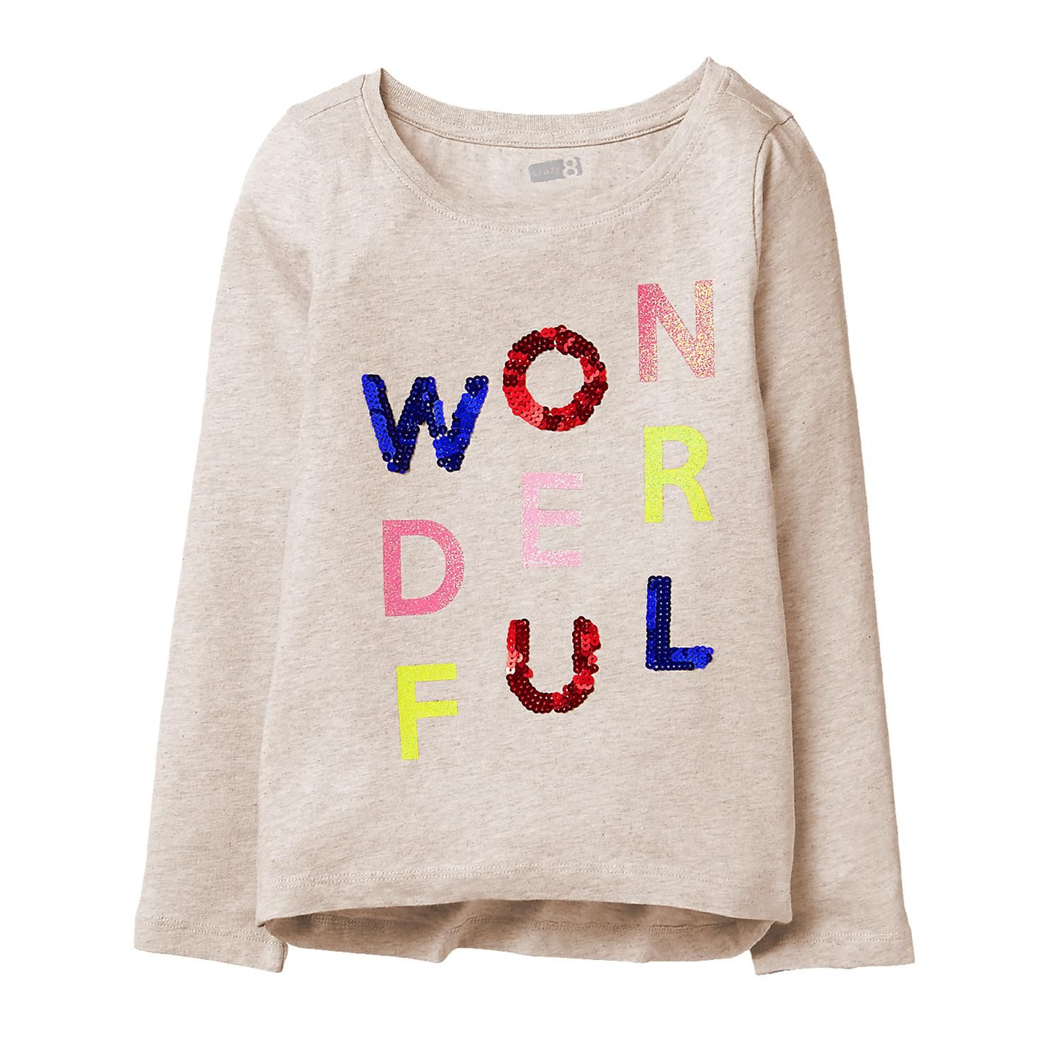 cb0d9553d9e3 Girl Heather Oatmeal Sparkle Wonderful Tee by Crazy 8 | Halle ...