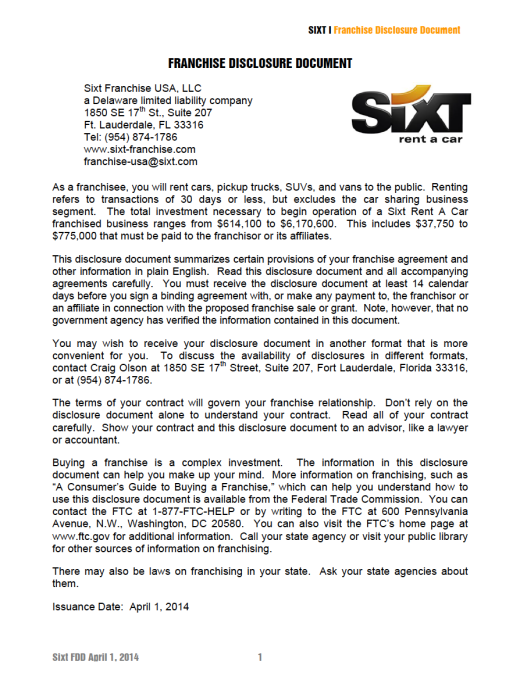 Sixt Rent A Car Franchise Due Diligence Report Research