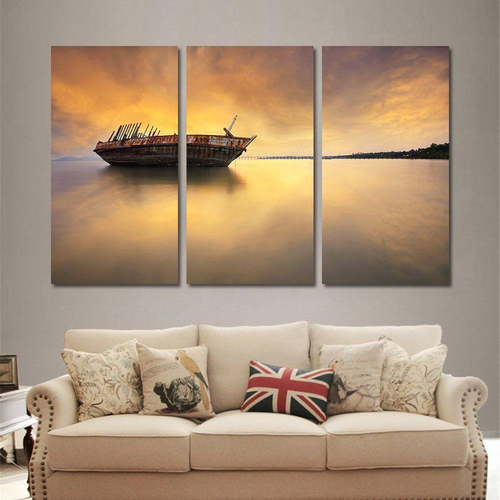 Wall art painting - 3 Pieces Modern Sunrise On The Sea Landscape Wall Art Painting Home Decoration Boat Oil Painting