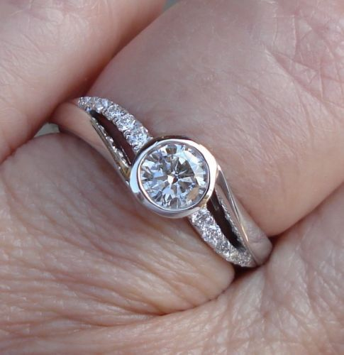 On Sale for 1099 12 Carat Bezel Set Diamond Engagement Ring 14K