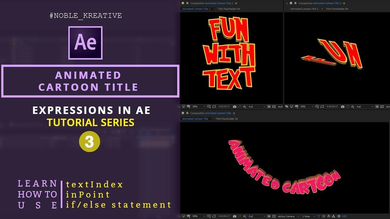 Animated Cartoon Title In After Effects Using Expressions Motion Graphics Tutorial Expressions Animated Cartoons