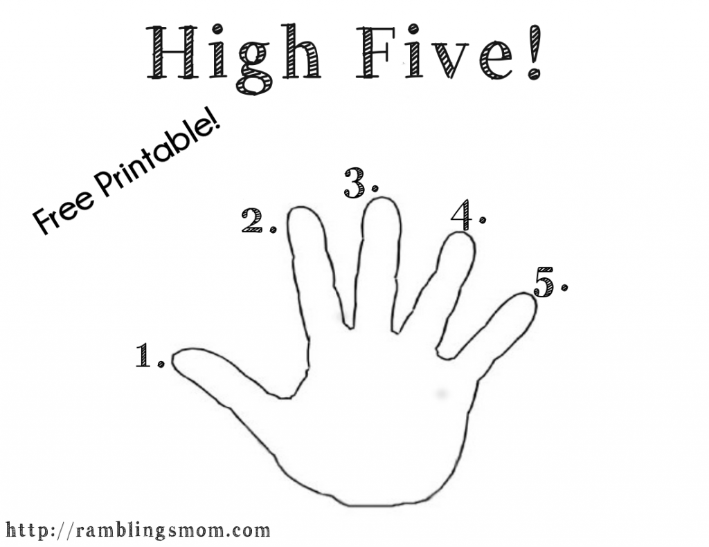 Morning High Five Free Printable Getting Kids Motivated