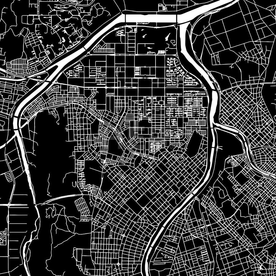 Daejeon Korea South downtown map dark Daejeon