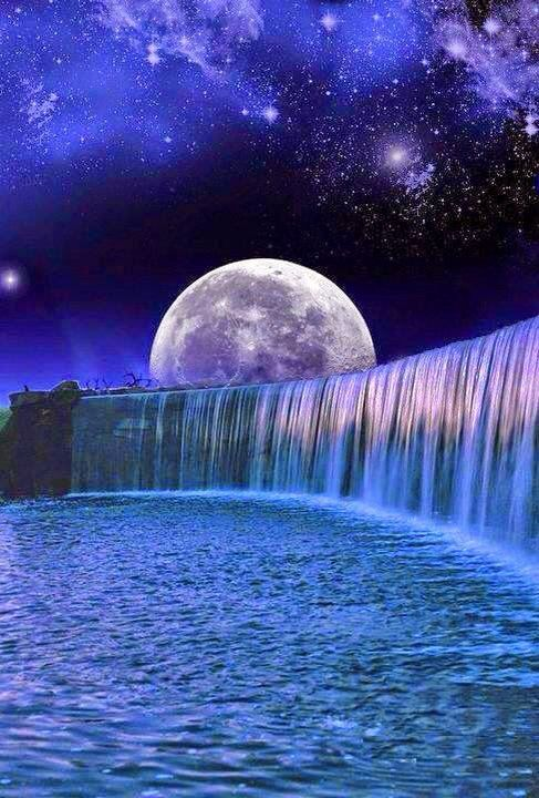 Night time waterfall | Quotes and more | Pinterest | Moon ...
