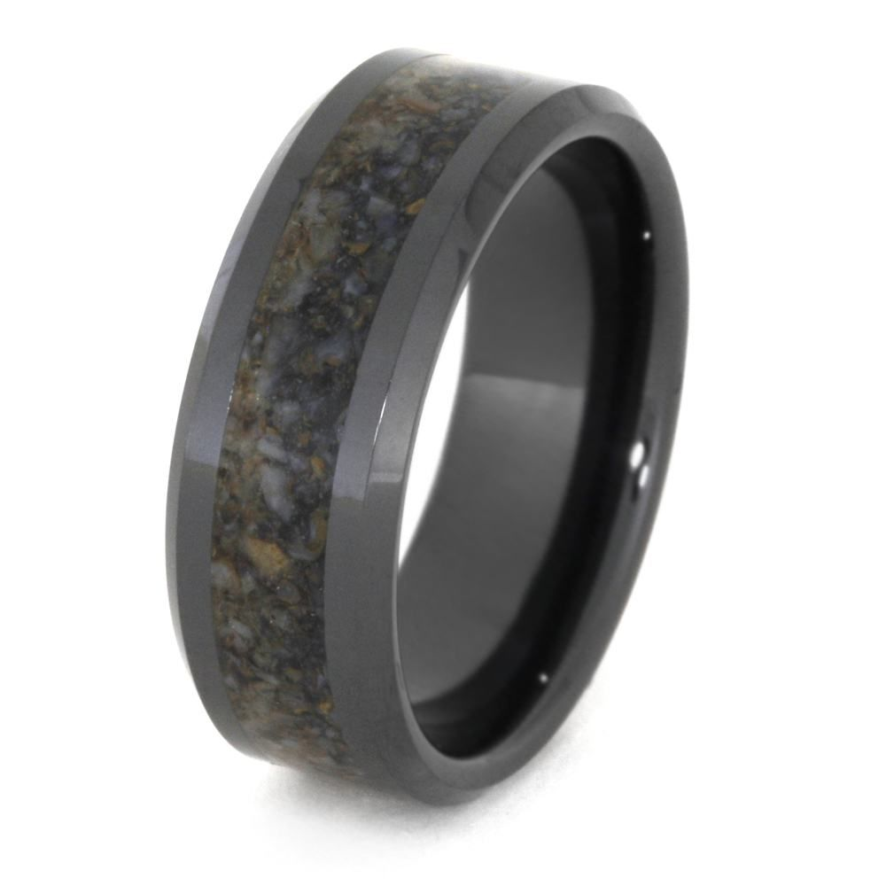 black ceramic wedding band crushed dinosaur bone ring 3331 - Dinosaur Bone Wedding Ring