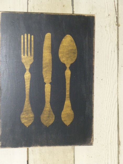 Large kitchen utensil sign/board.  Painted using a stencil, but could be traced & then painted, or free-handed.