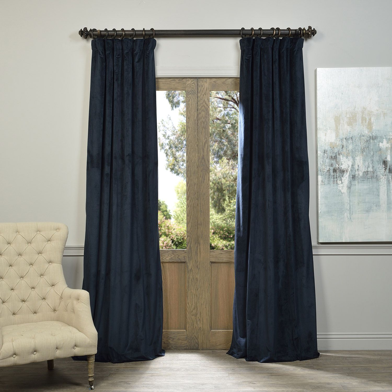 Exclusive fabrics signature midnight blue velvet blackout curtain