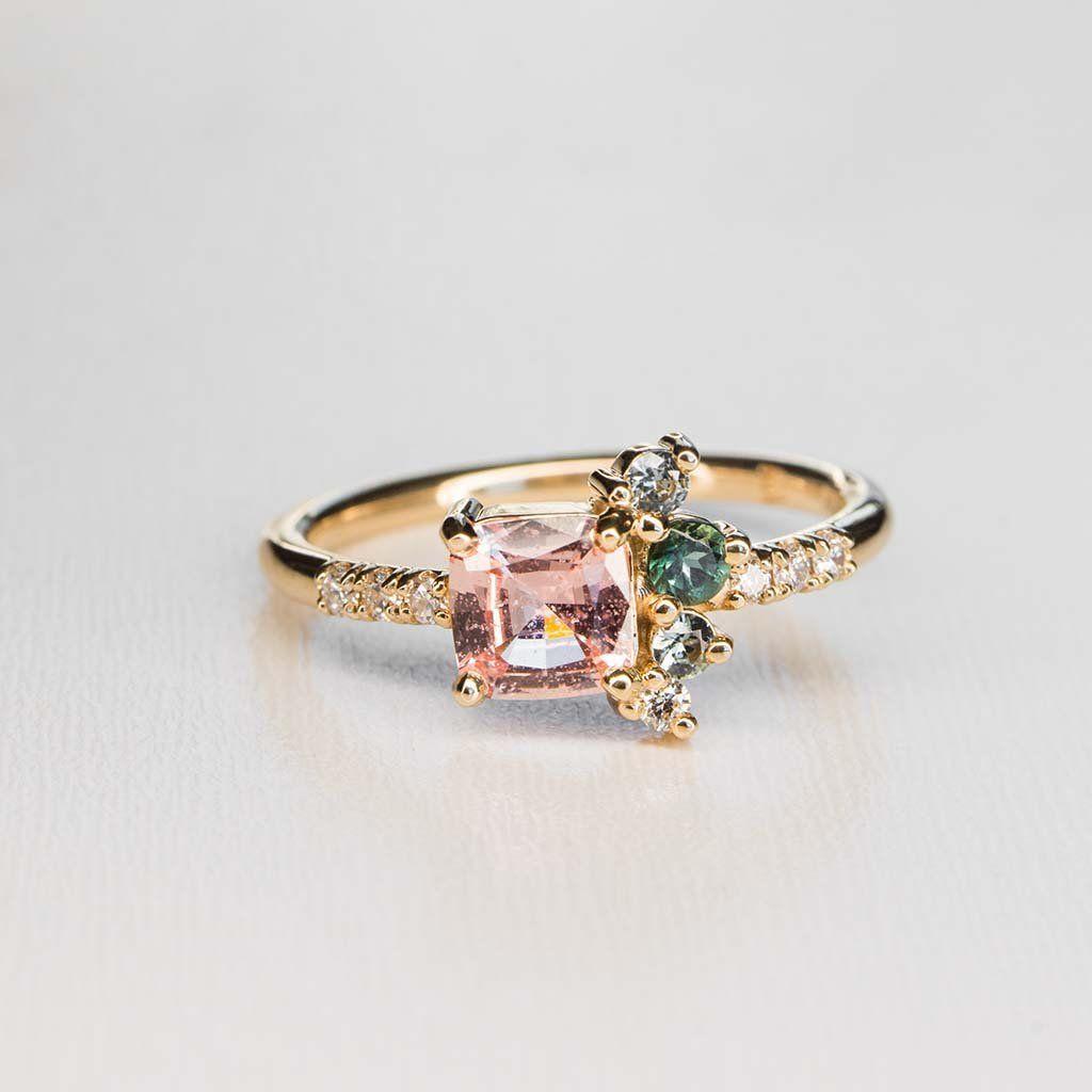 Padparadscha sapphire spray ring marrow fine jewelry sapphire