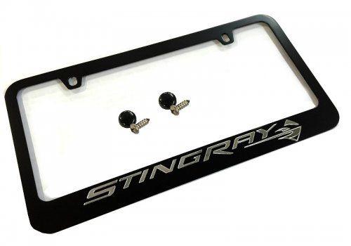 License Plate Frame W// Stingray Emblem C7 Corvette Stingray 2014 Black
