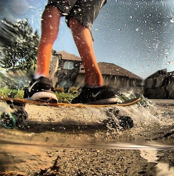 Hydroplaning: the nasty spray that covers me when I longboard in the rain.