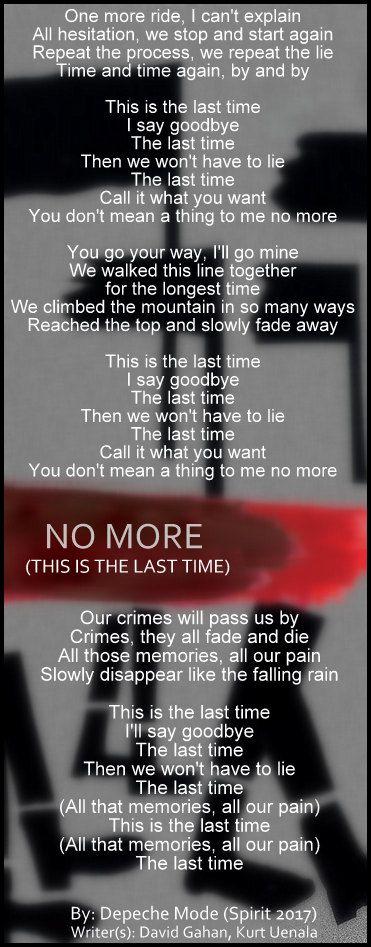 Depeche Mode No More Lyric Depechemode No More Spirit More Lyrics Depeche Mode Lyrics