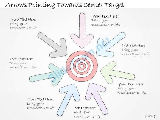 1113 business ppt diagram arrows pointing towards center target
