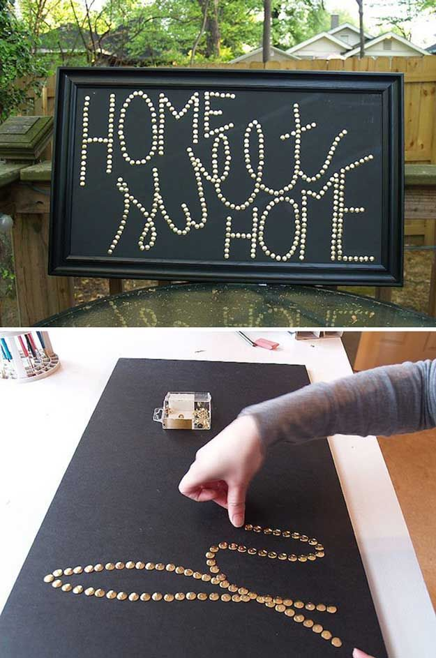 Cute DIY Room Decor Ideas For Teens   DIY Bedroom Projects For Teenagers    Pushpin Wall Art With Quote Chinchetas